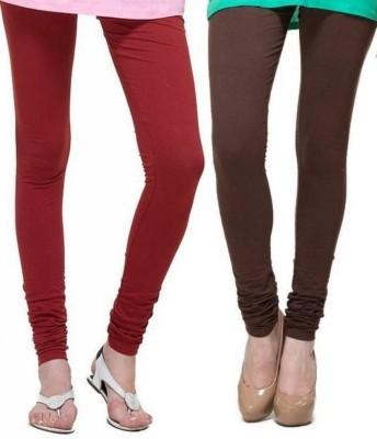 Zadine Women's Maroon, Brown Leggings