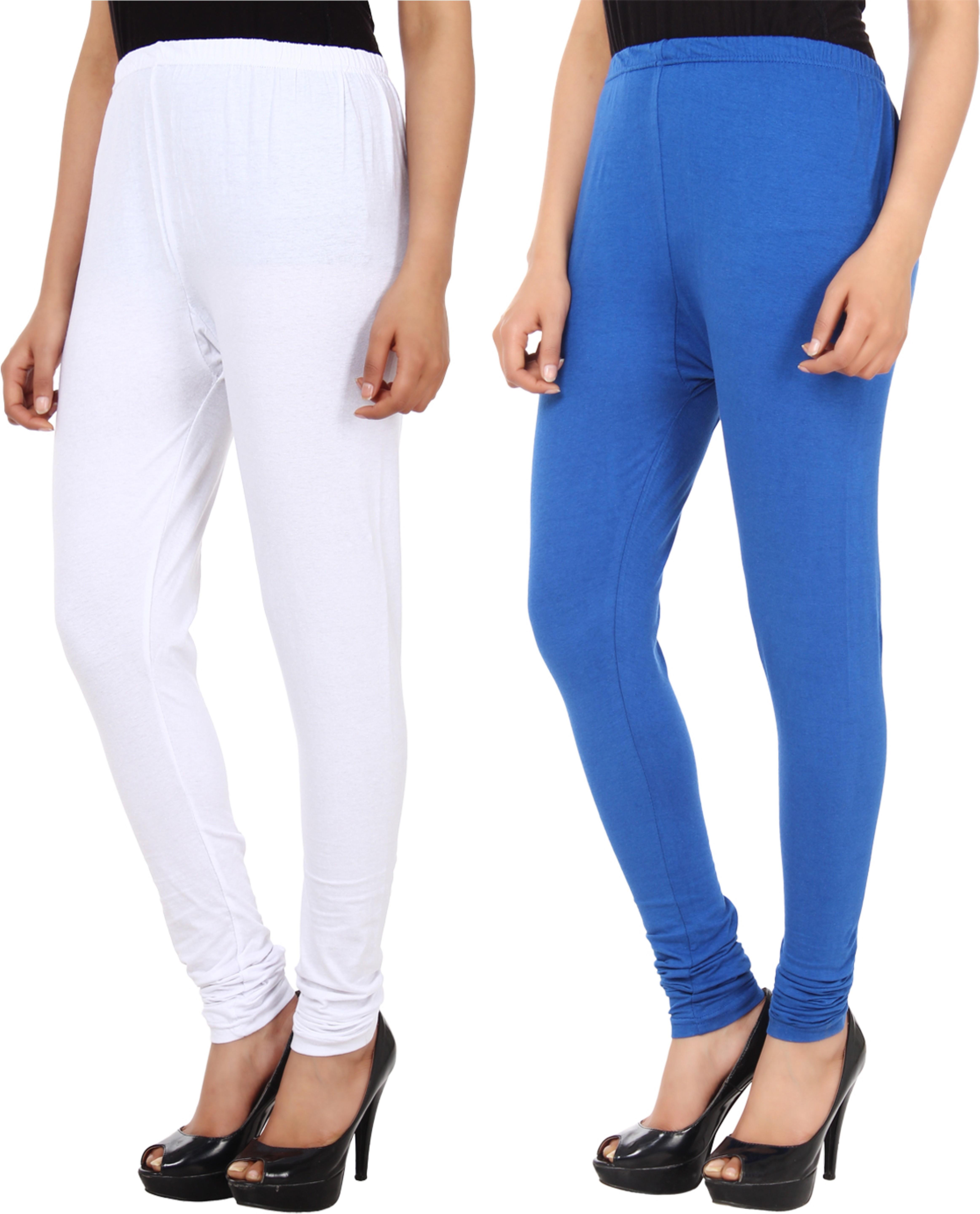 Xpos� Womens White, Blue Leggings(Pack of 2)