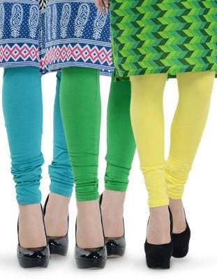 Tjaggies Women's Light Green, Yellow, Blue Leggings