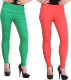 Jainish Women's Green, Red Jeggings (Pac...