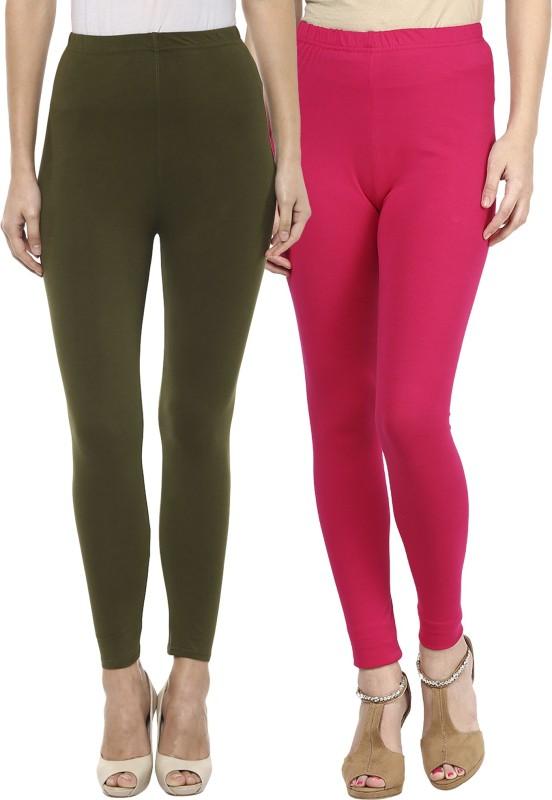 Sakhi Sang Women's Green, Pink Leggings(Pack of 2)