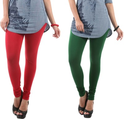 Fashionjackpot Women's Red, Green Leggings