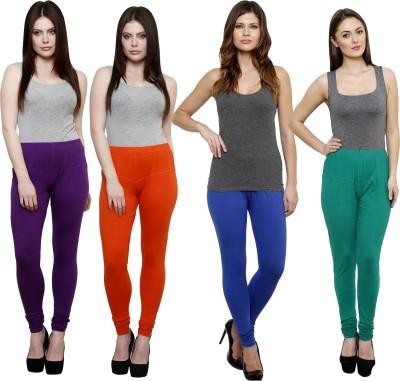 Pistaa Women's Purple, Orange, Blue, Green Leggings