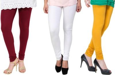 Lienz Women's Maroon, White, Yellow Leggings