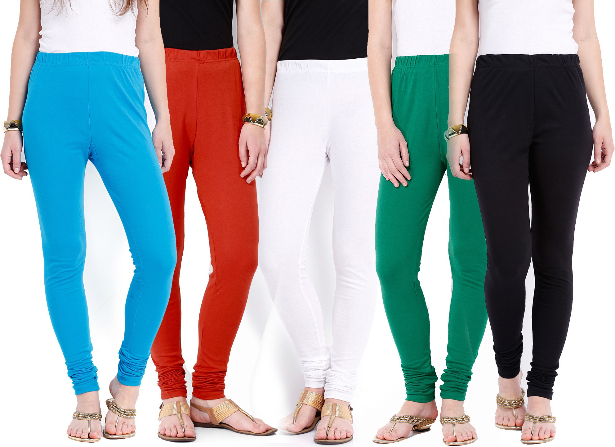 Ten on Ten Womens Blue, Red, White, Green, Black Leggings(Pack of 5)