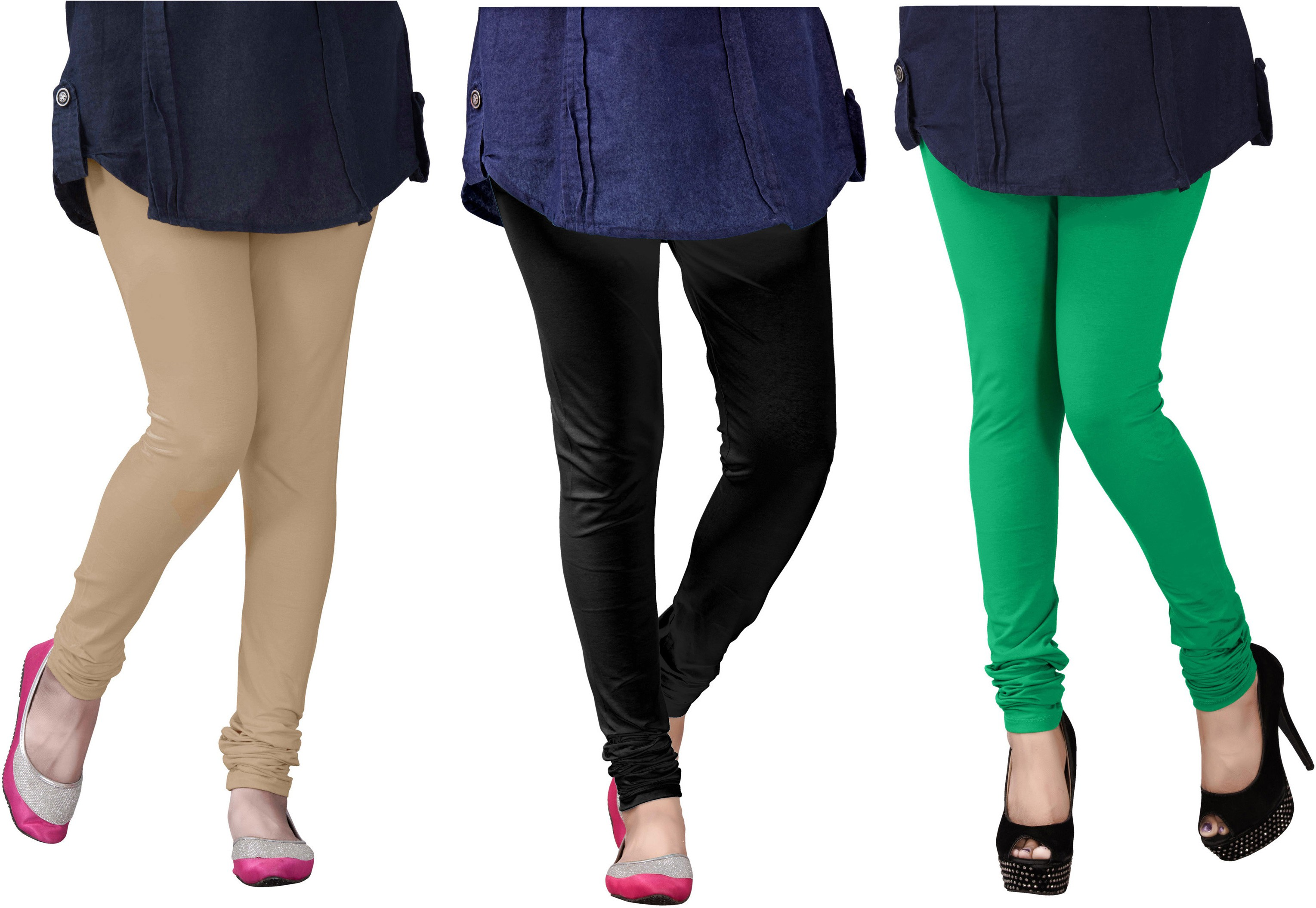 Plus Creation Womens Multicolor Leggings(Pack of 3)
