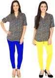 Traje Women's Blue, Yellow Leggings (Pac...