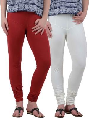American-Elm Women's White, Maroon Leggings
