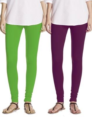 Best King Women's Light Green, Purple Leggings