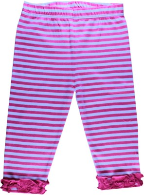 Little Green Kid Girl,s Pink, White Leggings