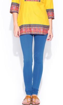 Cotton Lycra Women's Blue Leggings