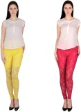 Simrit Women's Yellow, Pink Leggings (Pa...