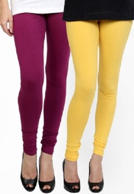 Lasunj Women's Maroon, Yellow Leggings