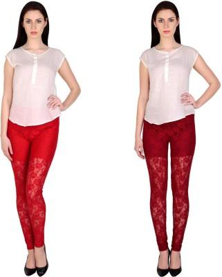 Simrit Women's Red, Maroon Leggings