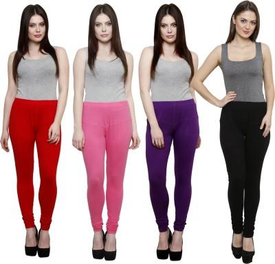 Pistaa Women's Red, Pink, Purple, Black Leggings