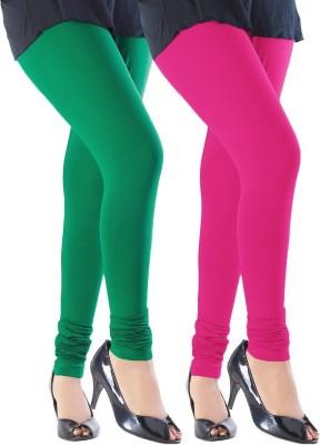 Addline Women's Dark Green, Pink Leggings
