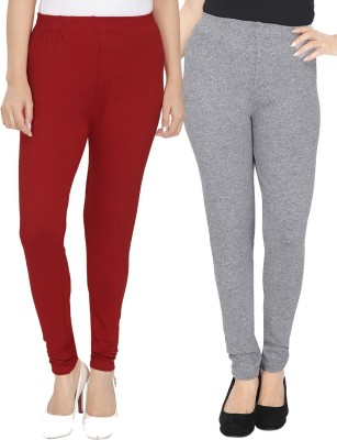 NGT Women's Maroon, Grey Leggings(Pack of 2) at flipkart