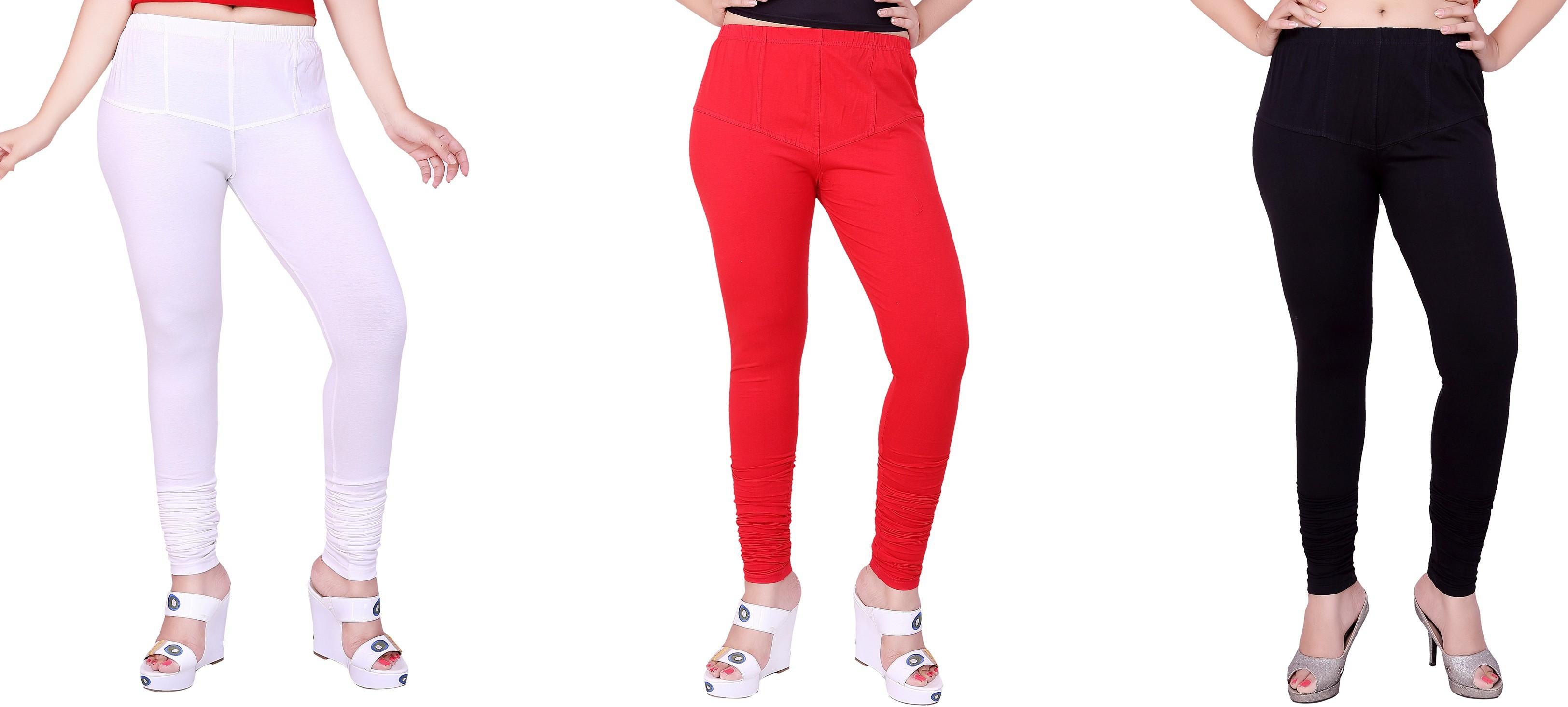 Fck3 Womens White, Red, Black Leggings(Pack of 3)