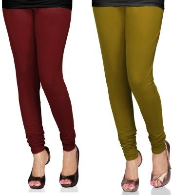 SareeGalaxy Women's Maroon, Light Green Leggings