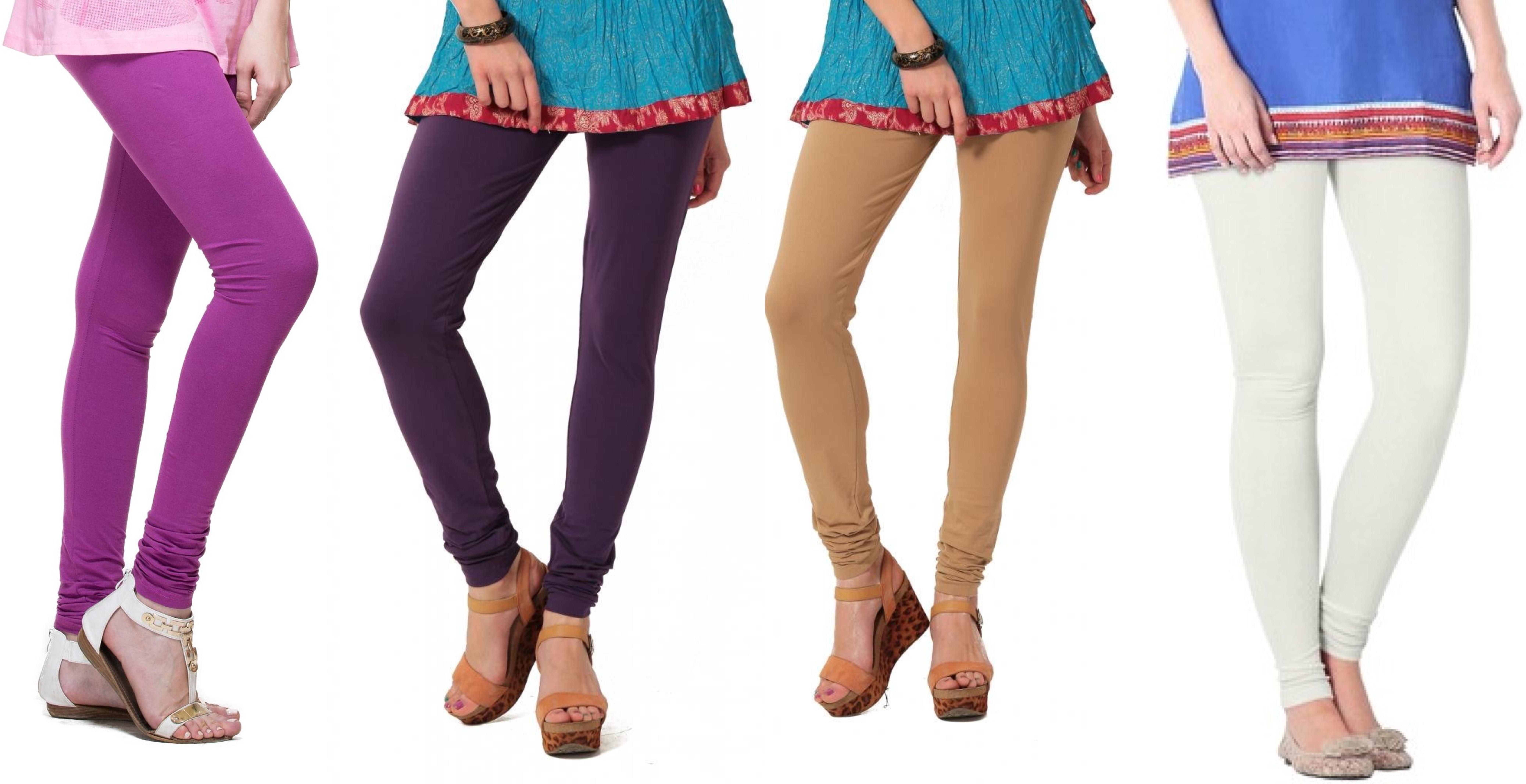 Angel Soft Womens Purple, Purple, Beige, White Leggings(Pack of 4)