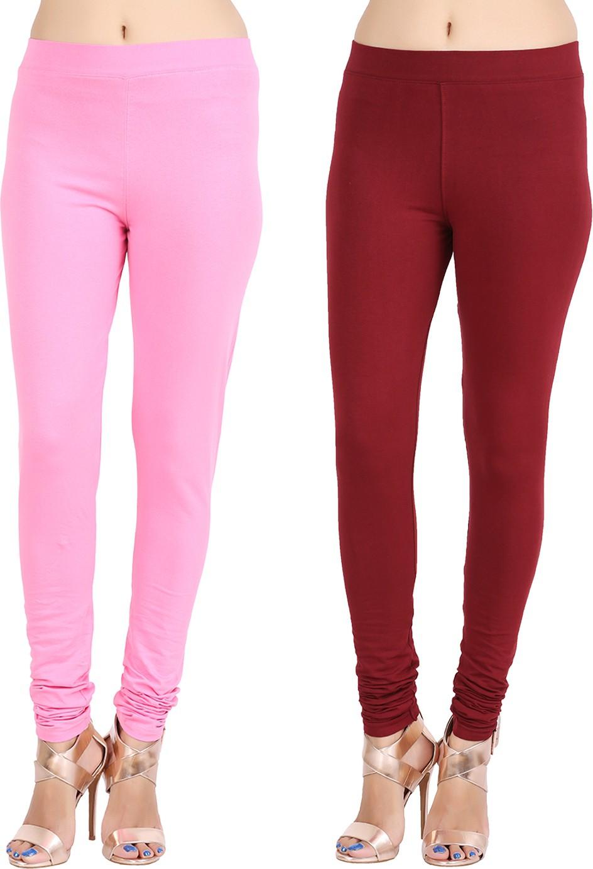 Lula Ms Womens Pink, Brown Leggings(Pack of 2)