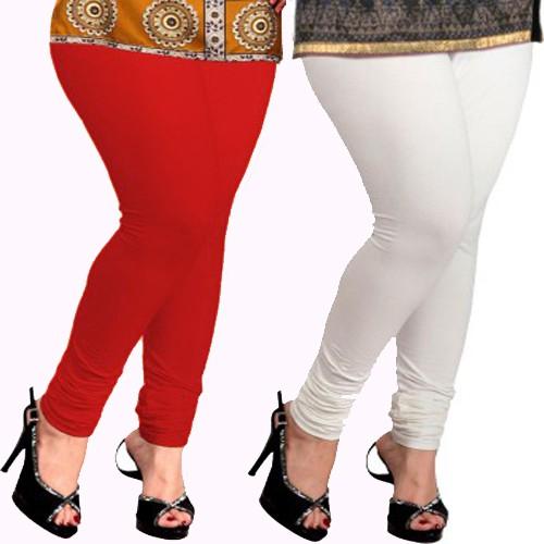Appeal Womens White, Red Leggings(Pack of 2)