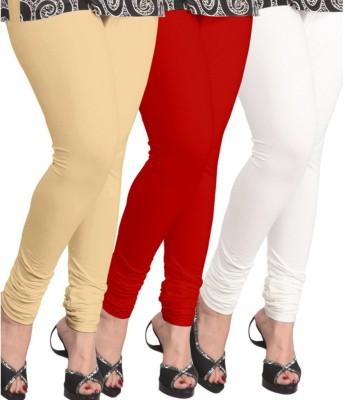 BuyNewTrend Women's Beige, Red, White Leggings(Pack of 3) at flipkart