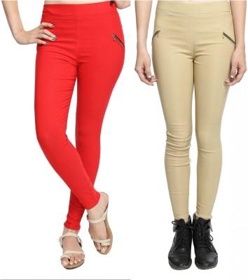 StyloFashionGarments Women's Red, Beige Jeggings