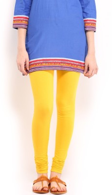 Cotton Lycra Women's Yellow Leggings