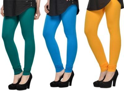 SareeGalaxy Women's Dark Blue, Light Blue, Yellow Leggings