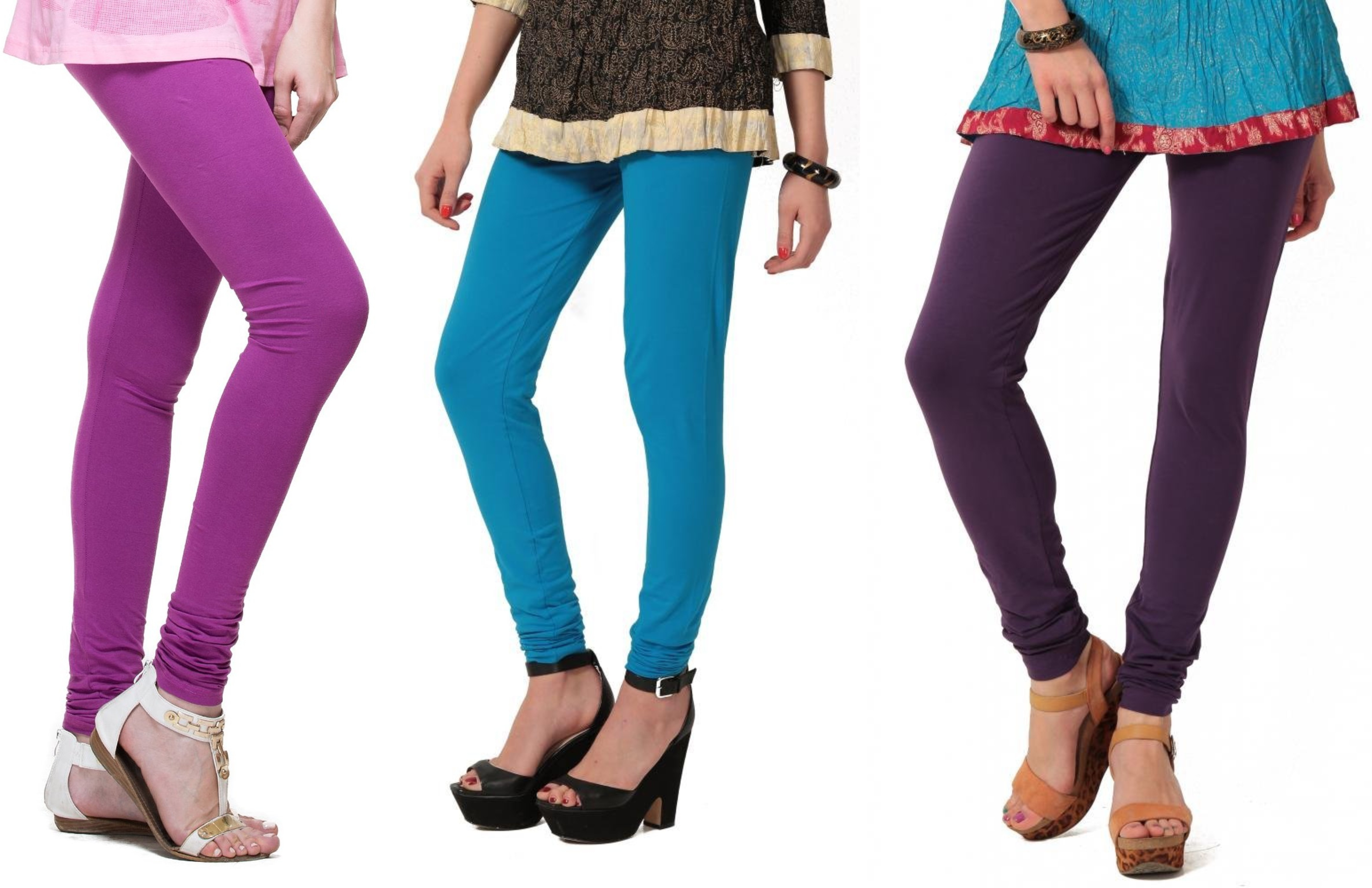 Angel Soft Womens Purple, Light Blue, Purple Leggings(Pack of 3)