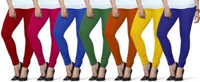 Lux Lyra Women's Red, Pink, Light Blue, Dark Green, Orange, Yellow, Dark Blue Leggings(Pack of 7) at flipkart