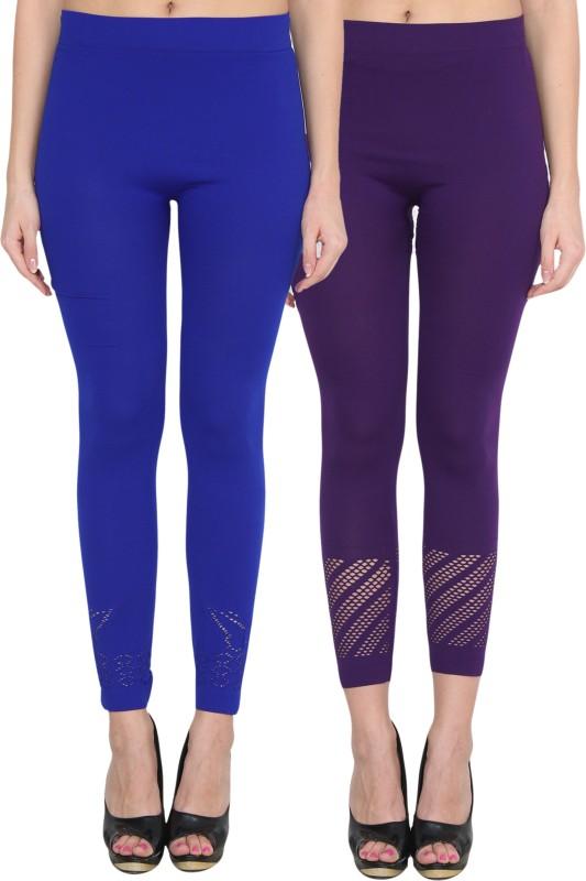 NumBrave Women's Blue, Blue Leggings(Pack of 2)