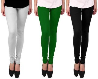 Escocer Women's White, Black, Green Leggings