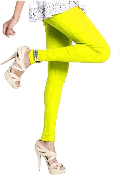 Notyet By Us Womens Yellow Leggings