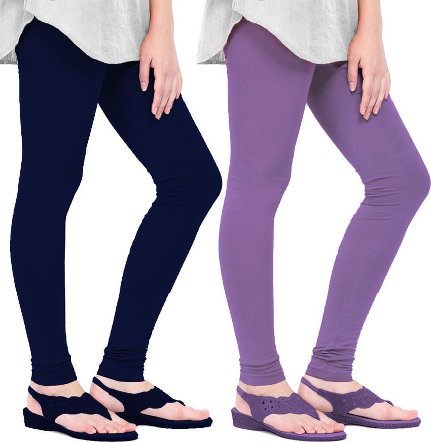Mianuova Womens Blue, Purple Leggings(Pack of 2)