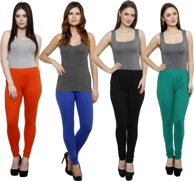 Pistaa Women's Orange, Blue, Black, Green Leggings