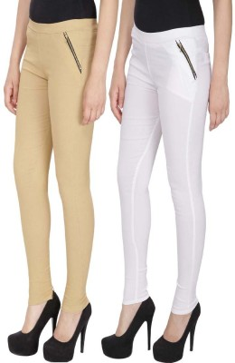 RZLECORT Girls Brown, White Jeggings(Pack of 2)