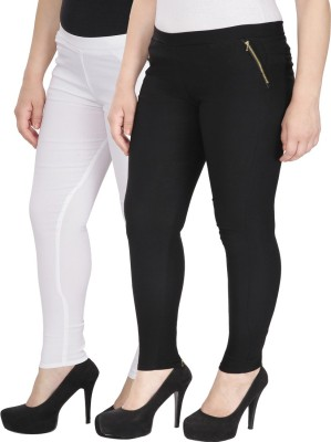 RZLECORT Girls Black, White Jeggings(Pack of 2)