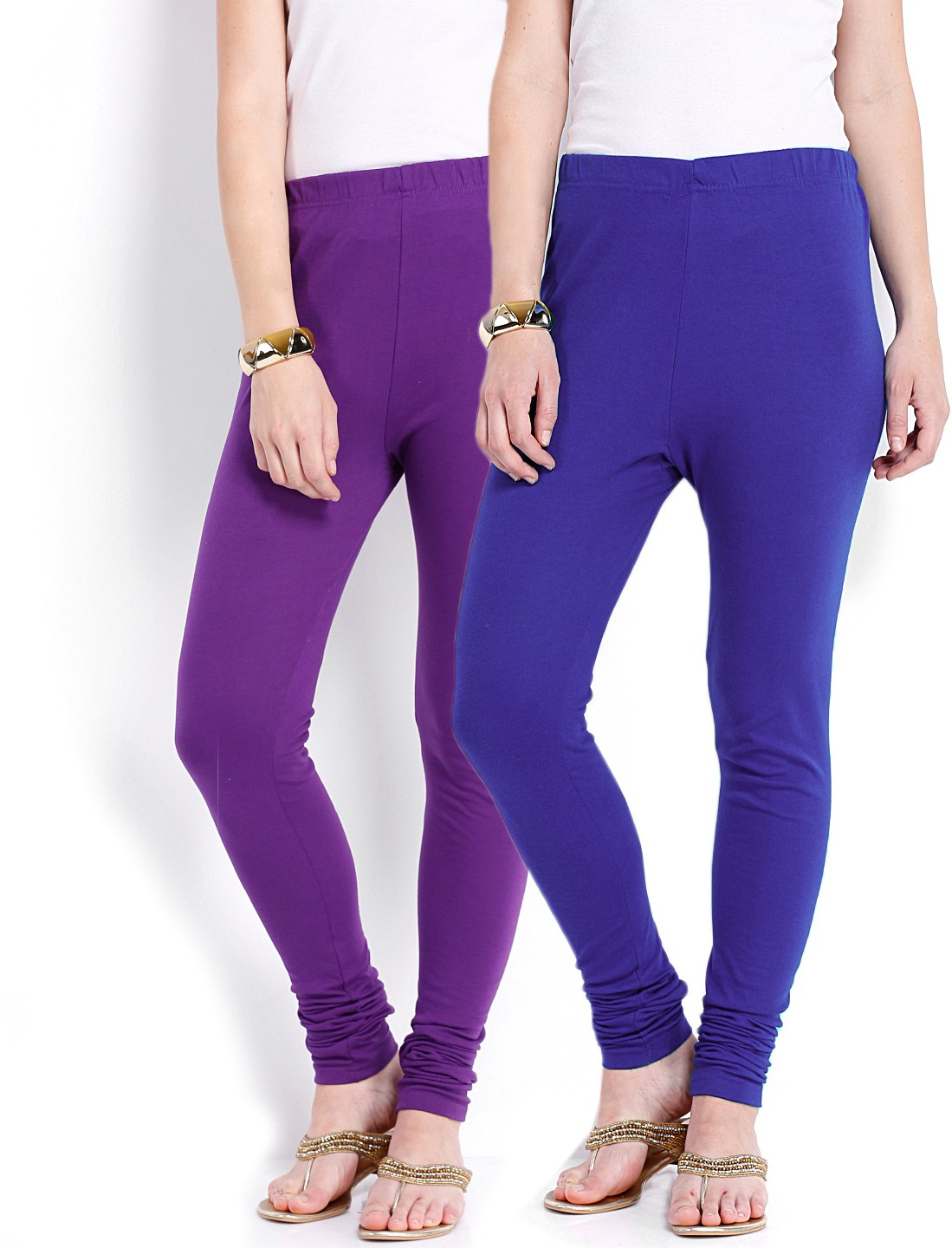 Ten on Ten Womens Purple, Blue Leggings(Pack of 2)