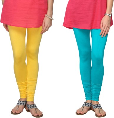 Fashionjackpot Women's Yellow, Light Blue Leggings