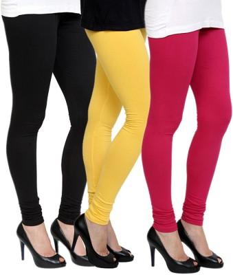 Pannkh Women's Black, Yellow, Pink Leggings