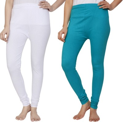 Krazy Katz Women's White, Light Blue Leggings