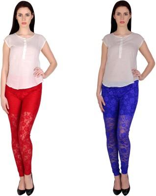 Simrit Women's Red, Blue Leggings