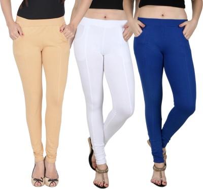 Baremoda Women's Beige, White, Blue Jeggings