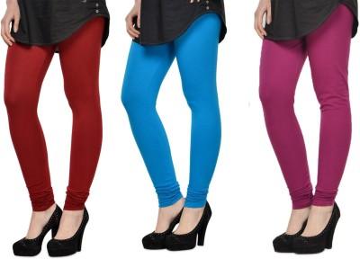 SareeGalaxy Women's Maroon, Light Blue, Purple Leggings