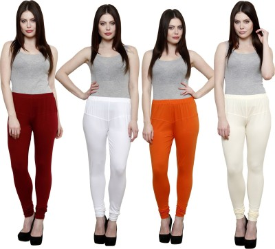 Pistaa Women's Maroon, White, Orange, White Leggings