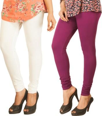 Berries Women's White, Purple Leggings