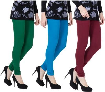 VERMELLO Women's Dark Green, Blue, Maroon Leggings