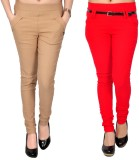 Zrestha Women's Red, Beige Jeggings (Pac...